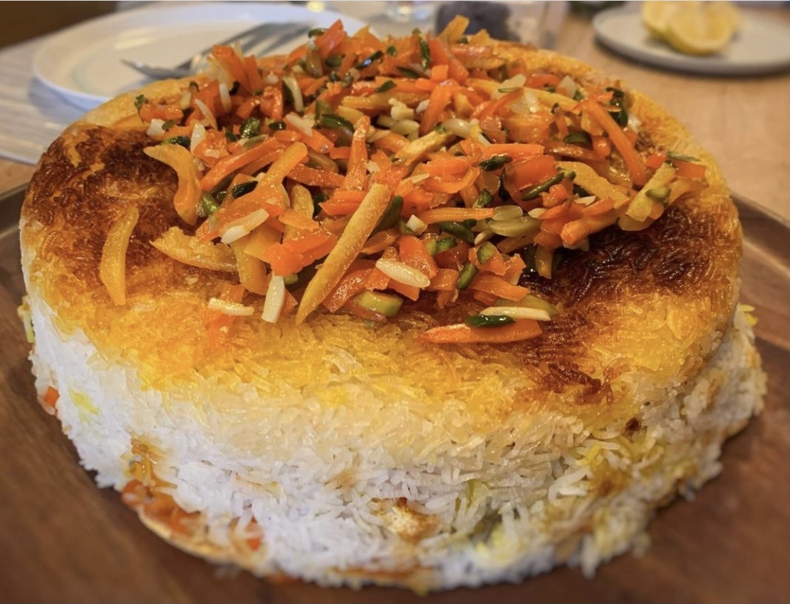 Shirin polo : Persian orange rice