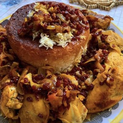 Zereshk polo ba morgh : poulet iranien au safran et épines de vinette