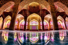 nasir al-mulk mosque , fisheye view- shiraz