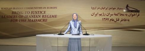 مريم رجوي ندوة الجاليات الايرانية ذكرى مجزرة 1988 في ايران 1