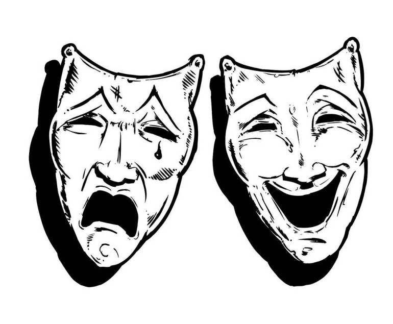Theatre Masks Happy And Sad, Laugh And Cry