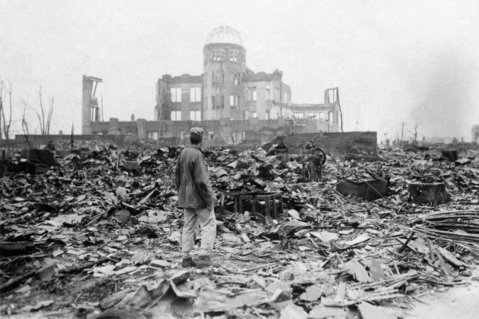 A huge expanse of ruins left after the explosion of the atomic bomb in Hiroshima.