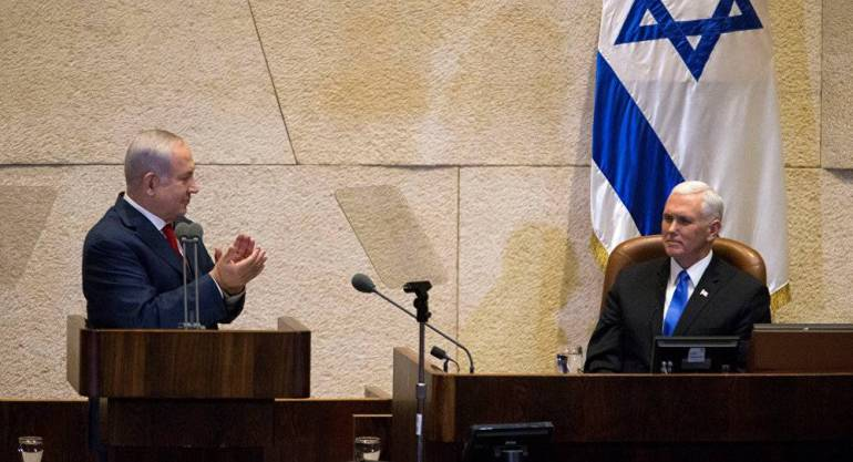 Israeli Knesset mike pence and netanyahu