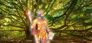 King Xerxes in front of a tree
