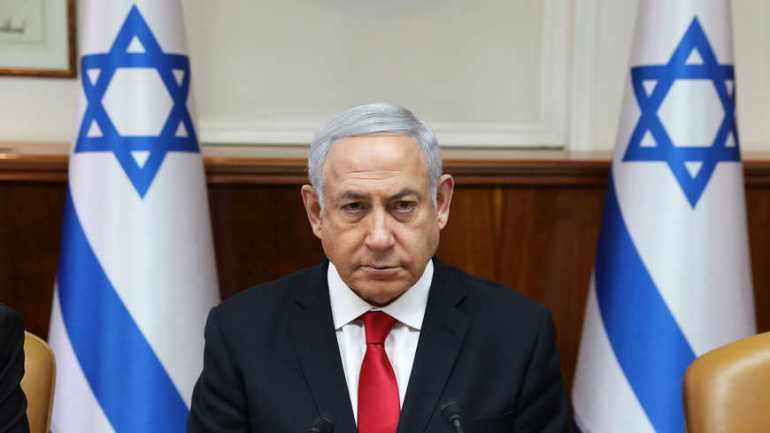 Israeli Prime Minister Benjamin Netanyahu attends the weekly cabinet meeting at his office in Jerusalem
