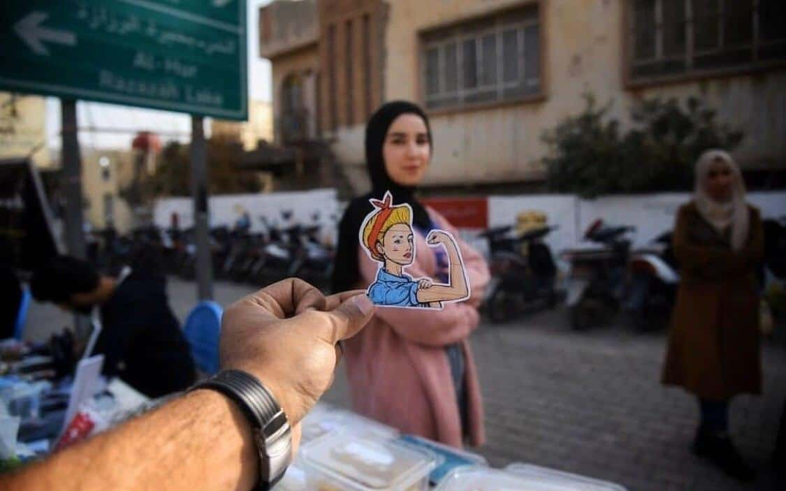 Bursippa businesses in Karbala sticker with woman in background 1