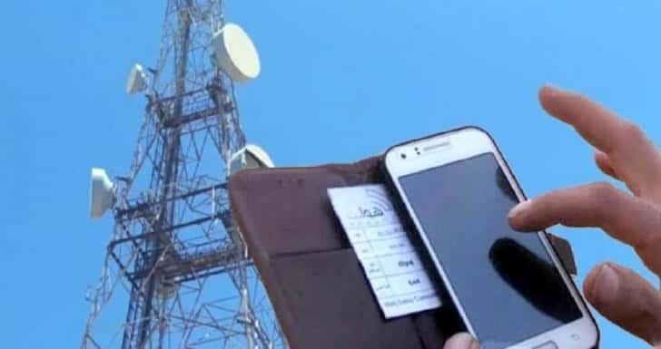 Mobile phone near satellite