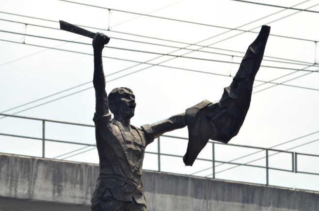 Napoleon Abueva's Bonifacio at Balintawak; this is based from Ramon Martinez's iconic Homenaje del pueblo filipino a los heroes del 96 that many have mistaken to be Bonifacio