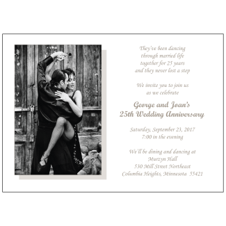 25th Wedding Anniversary Party Invitation with Photo