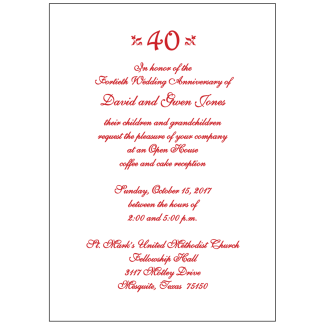 40th Anniversary Party Invitation