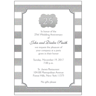 25th Wedding Anniversary Party Invitation