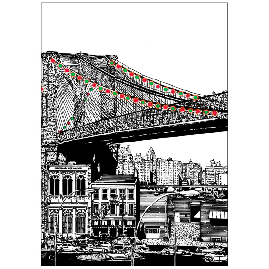 Cover of Christmas Holiday Card - Brooklyn Bridge