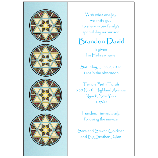 Jewish Baby Naming Invitation for a Boy