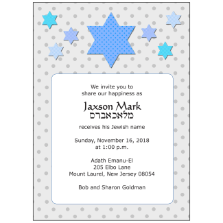 Jewish Baby Naming Invitation - For a Boy