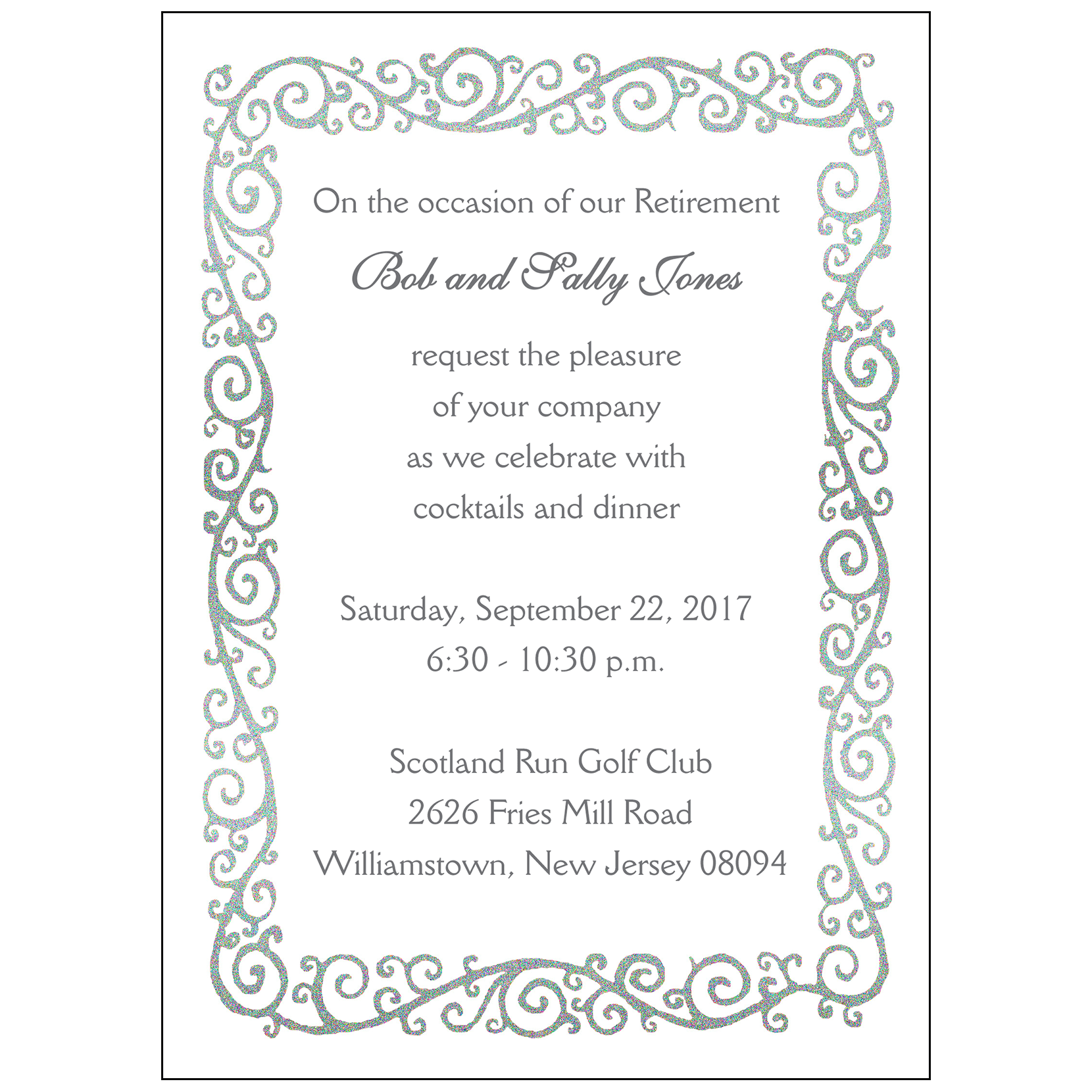 Retirement Party Invitation, Style RPI-05