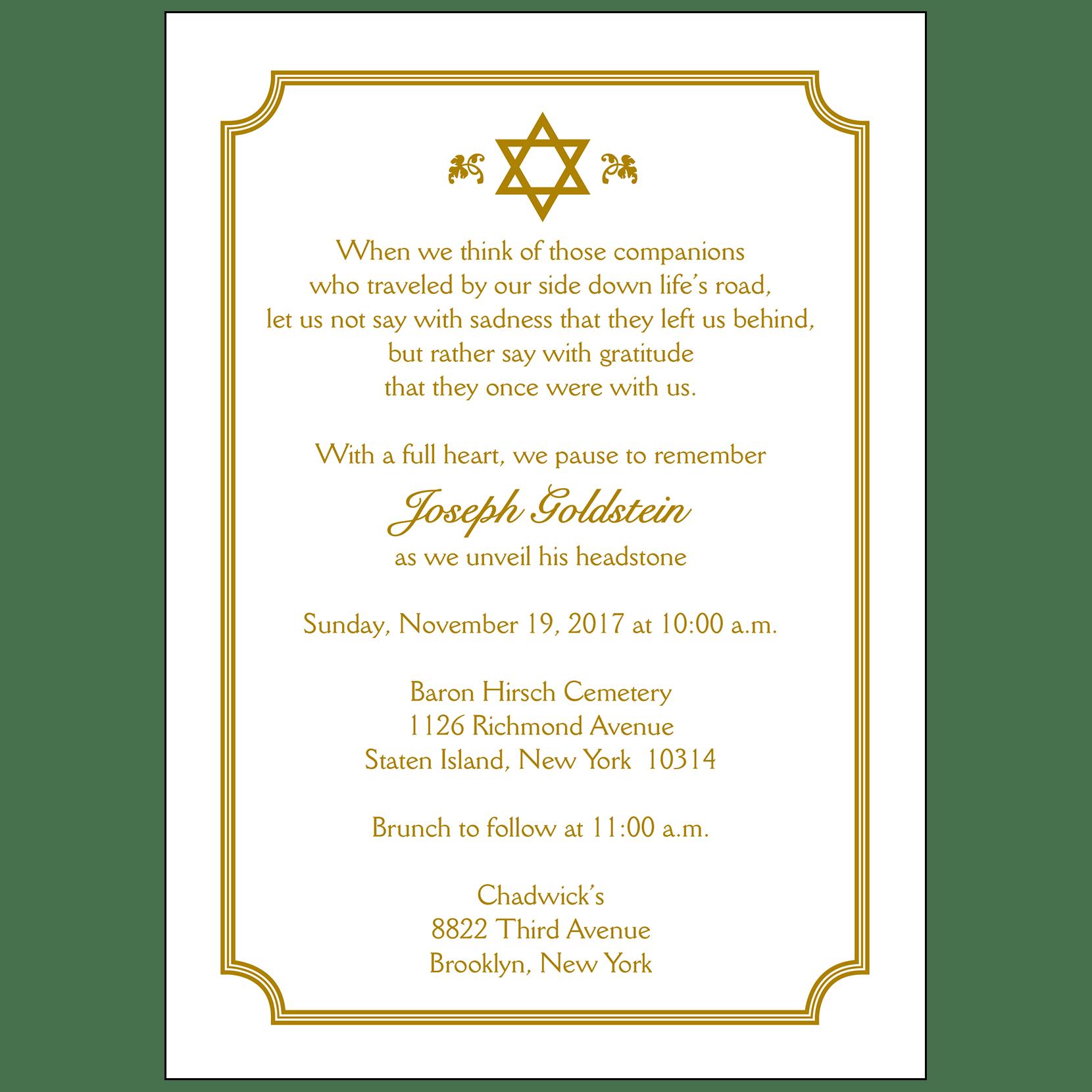 unveiling of tombstone invitation wording
