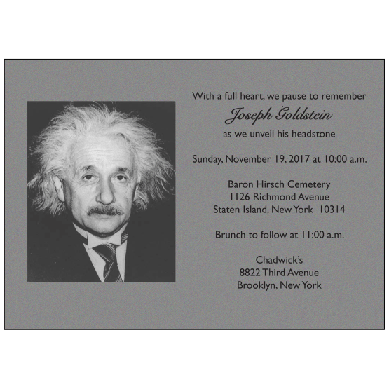 Jewish Unveiling Ceremony Invitation with Photo