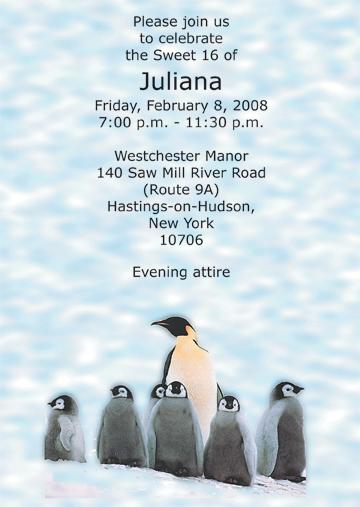 Penguins Animal Theme Invitation