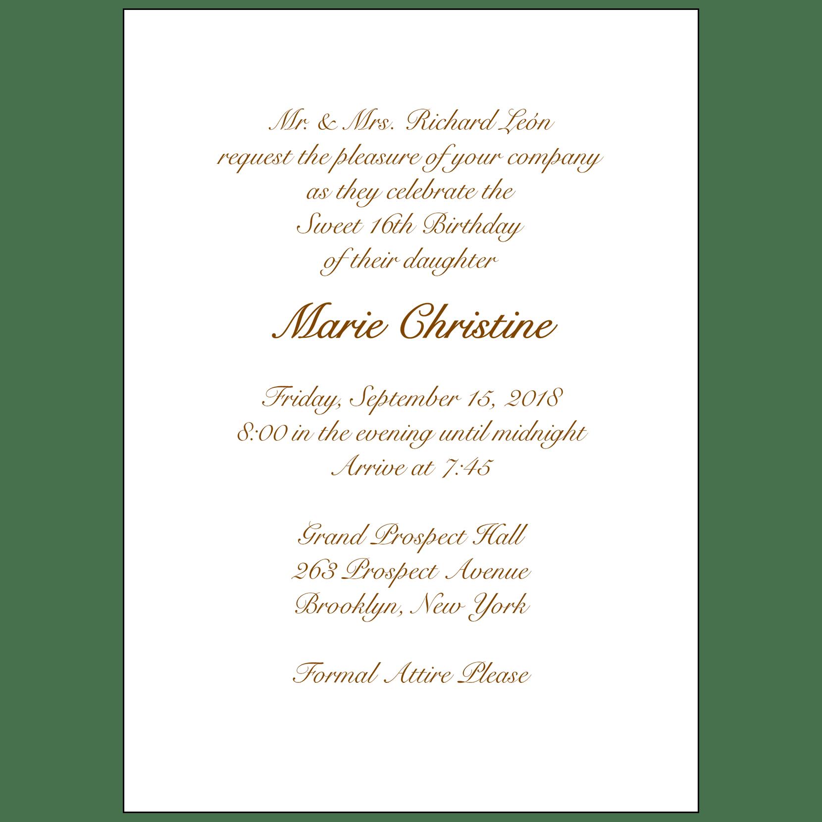 sweet sixteen invitation style 1 sample a