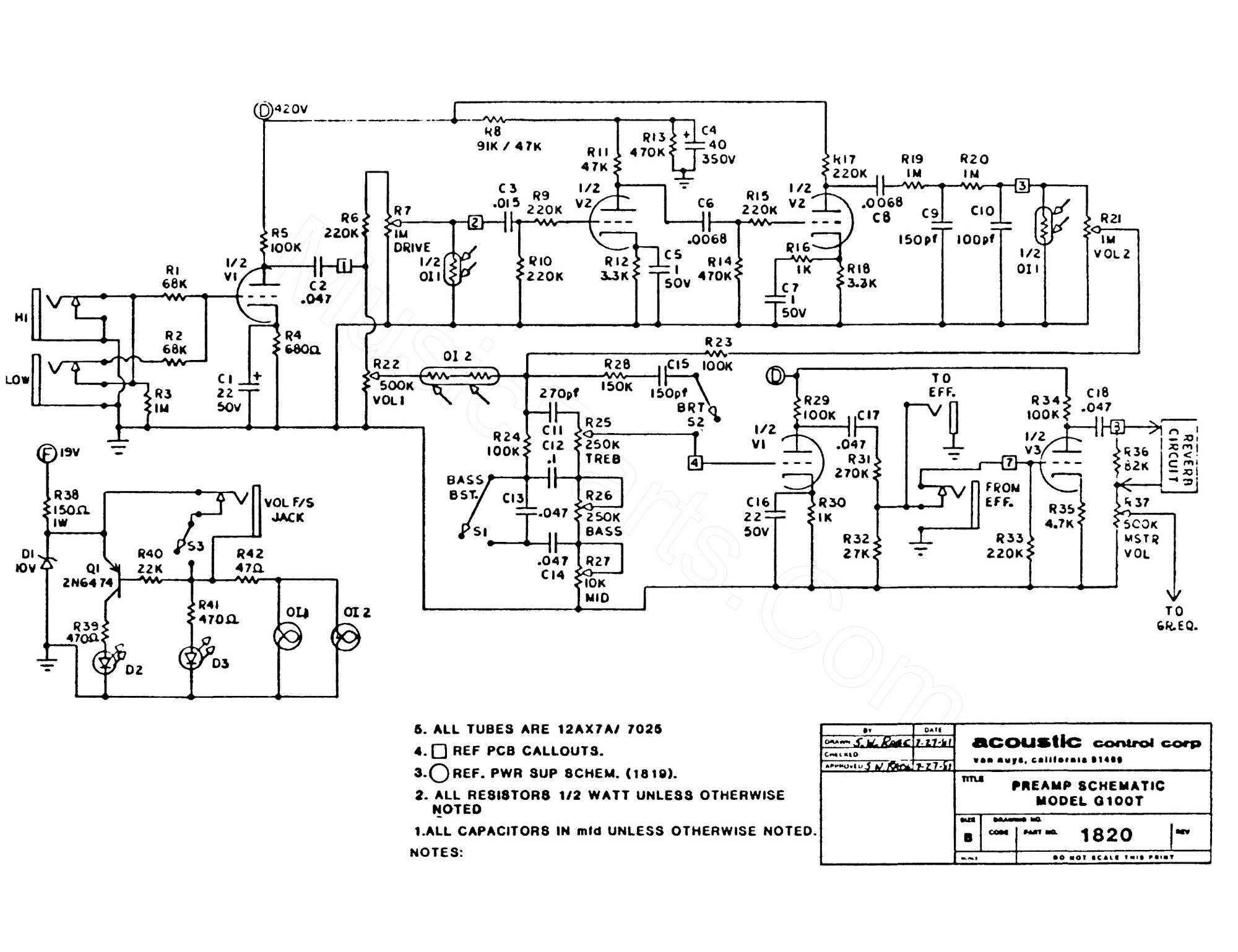 hight resolution of acoustic g100t iration audio acoustic amp 160 schematic