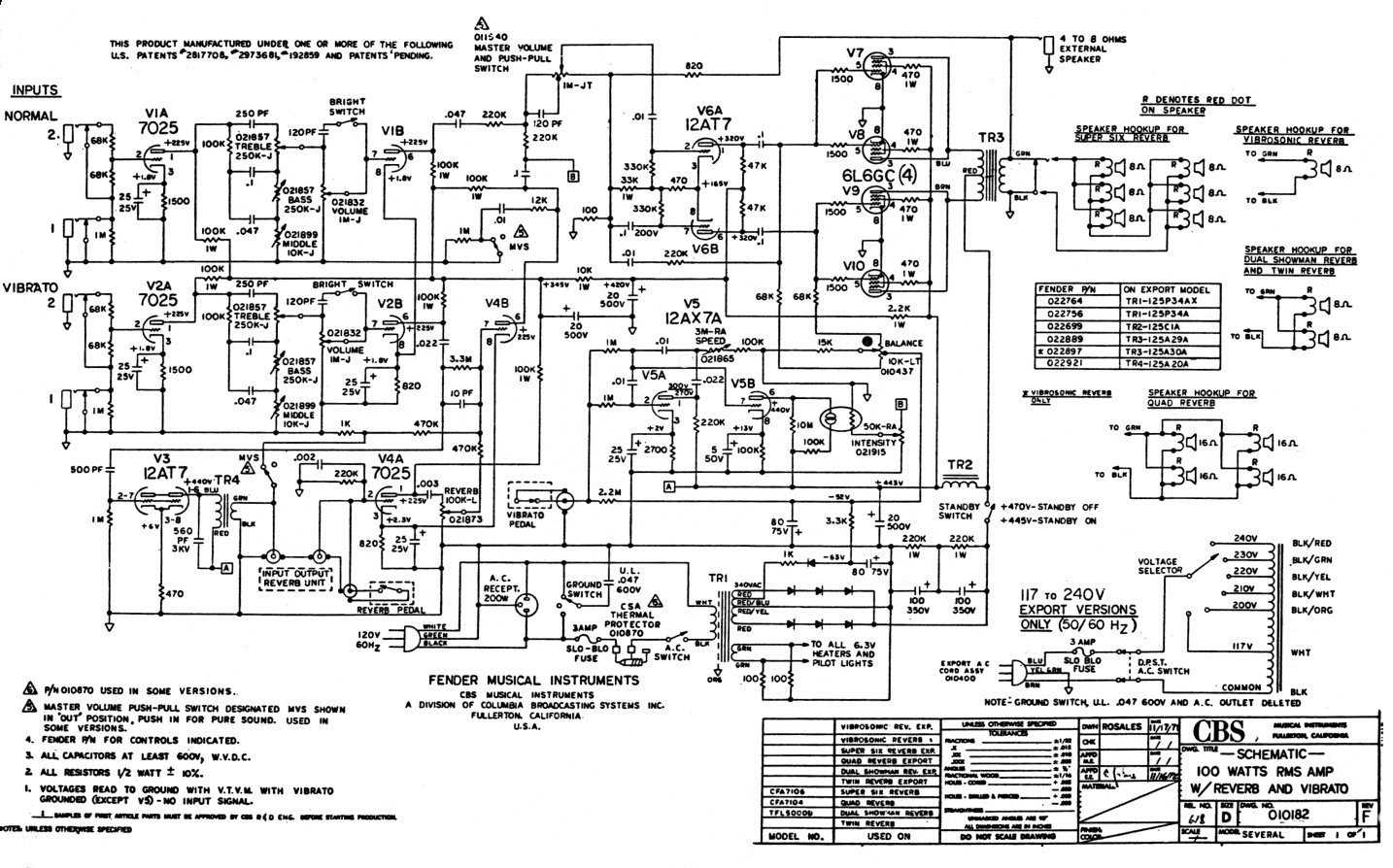 fender twin amp schematic
