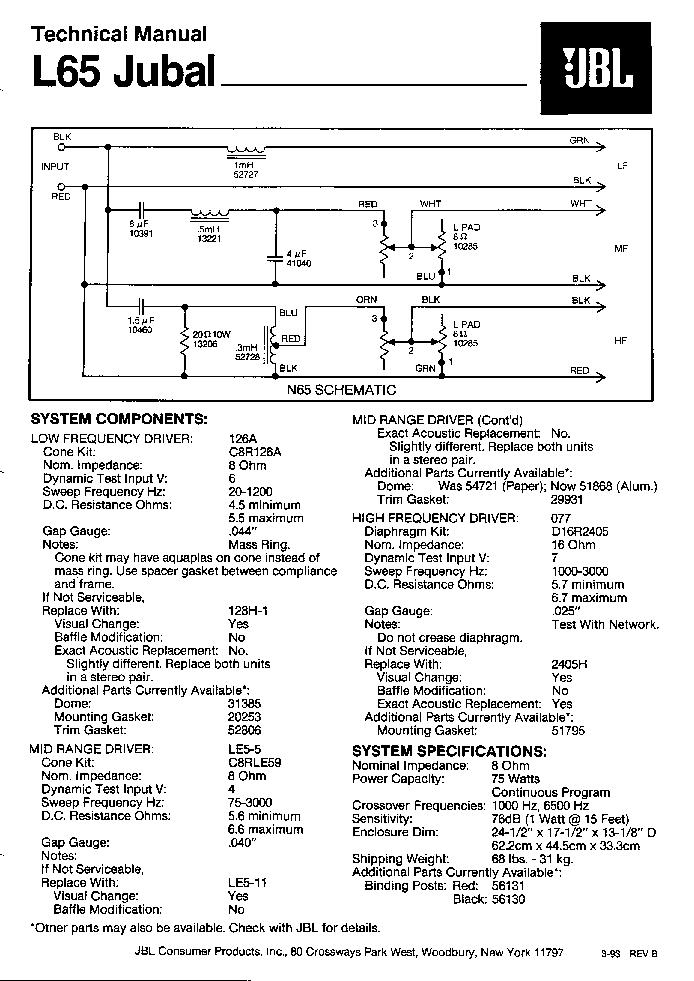 100 W Subwoofer Circuit Diagram Jbl L65 Jubal Iration Audio