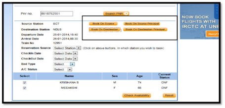 Reservation source, Check in Date, Checkout date, Bed Type and A/C status