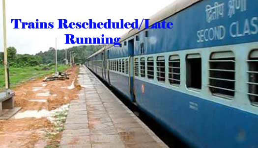 Todays Reschedule/Late Running Trains list 24th Sep