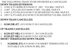 Train Derailed in MP Diversion List Trains Update-5