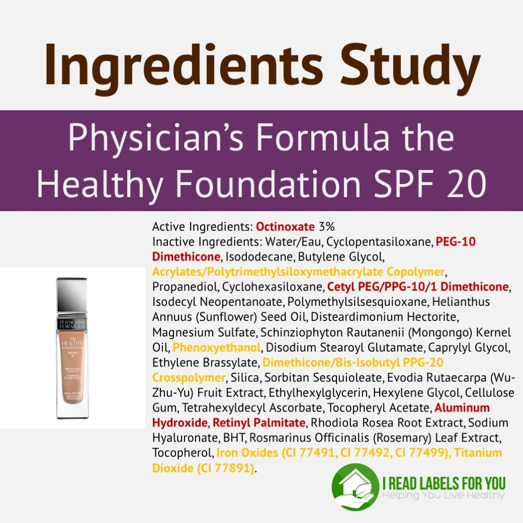 Ingredient Study_Physicians Formula Foundation