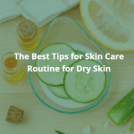 The Best Tips for Skin Care Routine for Dry Skin. The picture of healthful ingredients for skin care such as cucumbers, lemon, aloe vera, and oils.