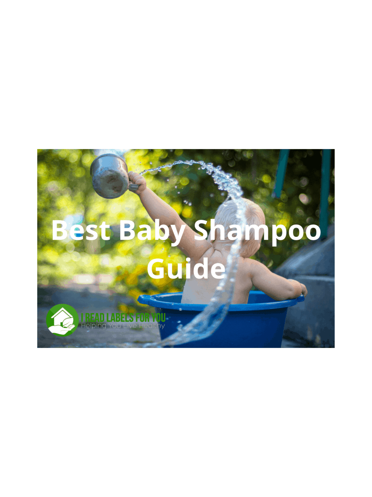 Best Baby Shampoo Guide. A photo of a baby bathing in a tub.
