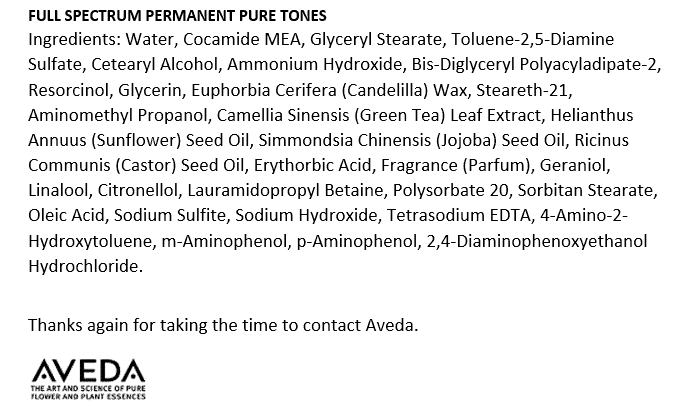 Aveda Hair Color Ingredients Review I Read Labels For You