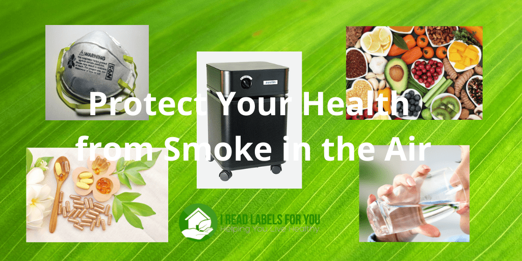 Protect your health from smoke in the air. A picture of five ways to protect health.