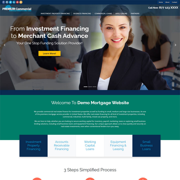 It doesn't matter if you develop a business or private web project, be certain to get a hold of the best look and feel for your site. Commercial Mortgage Website Templates