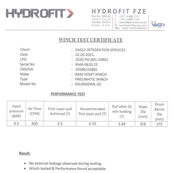 RAM K5UR50DML-20 Air Winch HYDROFIT Certification