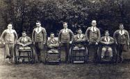 A group of soldiers in hospital uniform. For them the war was over! Courtesy of www.worldwar1postcards.com