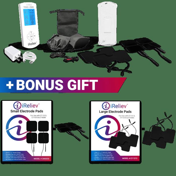 iReliev TENS unit EMS device bonus electrodes