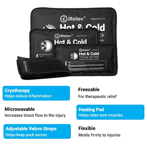 iReliev Hot and Cold Gel Packs, Hot and Cold Gel Packs, ice pack, Hot pack, Cyrotherapy, heating pad