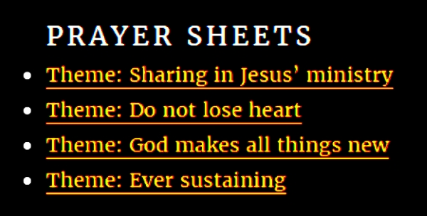 List of prayer sheet blog posts