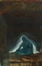 """""""Tending the Flame"""" oil, tar, mulberry paper"""
