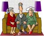 5430 old people sitting together on a couch - old people