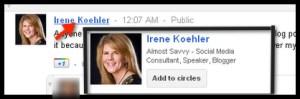 google hovercard add to circles irene koehler - google+ hovercard add to circles irene koehler