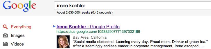 google results google+ irene koehler