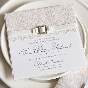 Elegant Lace Bordered Gold Letterpress Wedding Invitation With 2nd Paper Layer