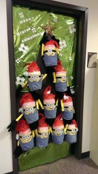 Merry Minion Christmas Door | FaveCrafts.com