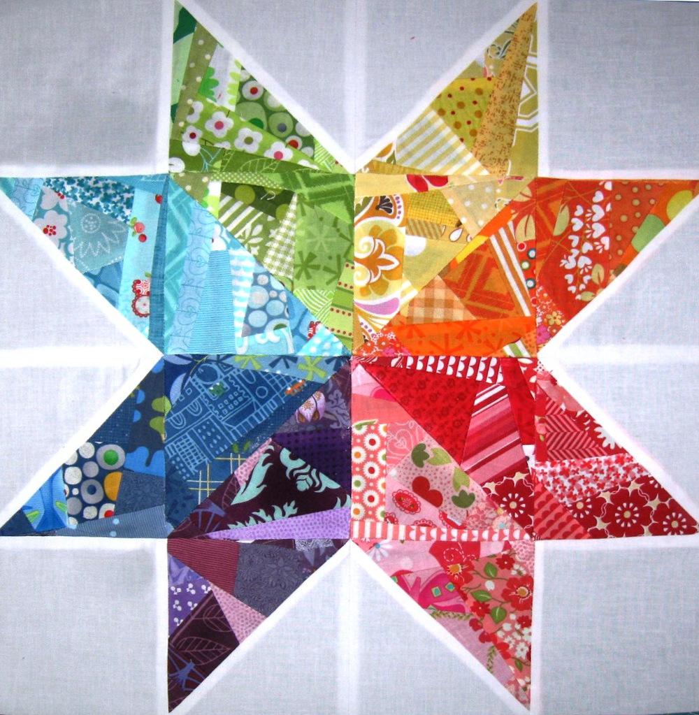 Scrappy Rainbow Star Quilt Block