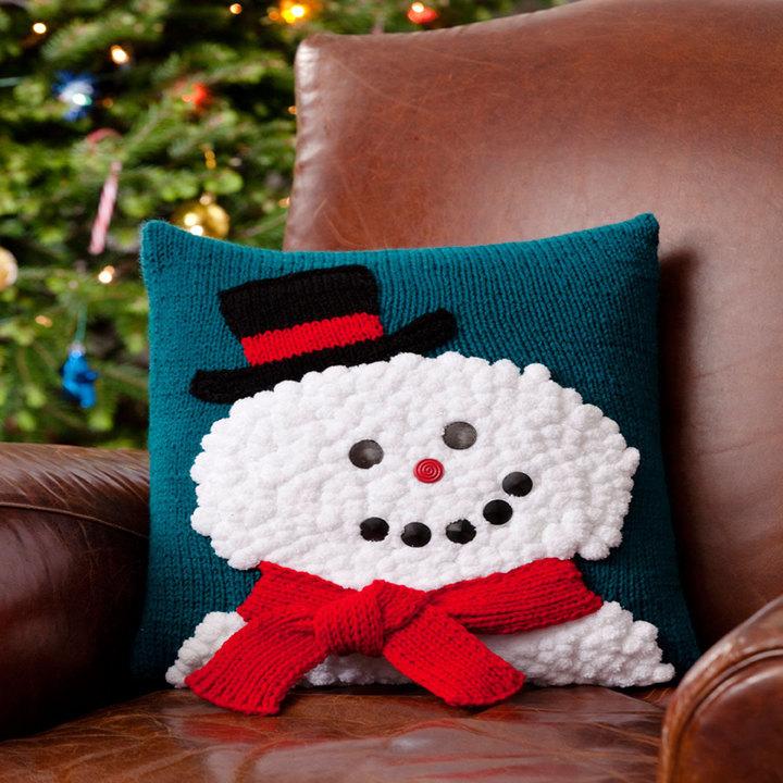 Smiley Snowman Pillow  AllFreeKnittingcom