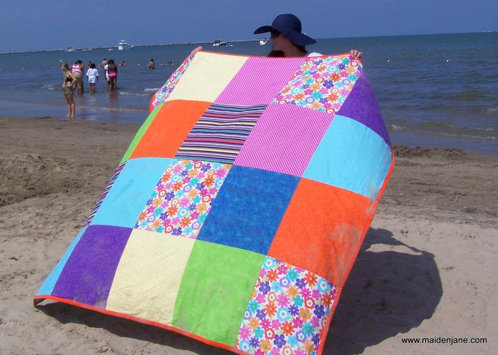 Big and Bold Beach Blanket  AllFreeSewingcom
