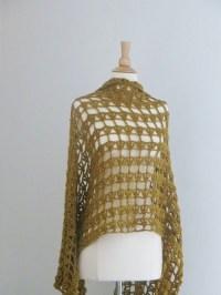 Golden Lacy Crochet Shawl | AllFreeCrochet.com